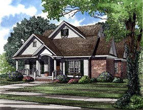 House Plan 62008   Cottage Traditional Style Plan with 2146 Sq Ft, 3 Bedrooms, 3 Bathrooms, 2 Car Garage Elevation