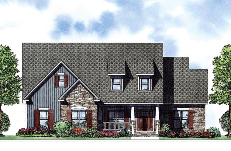 Colonial One-Story Elevation of Plan 62009