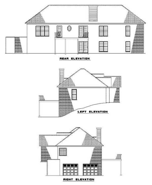 European, Traditional House Plan 62011 with 2 Beds, 3 Baths, 2 Car Garage Rear Elevation
