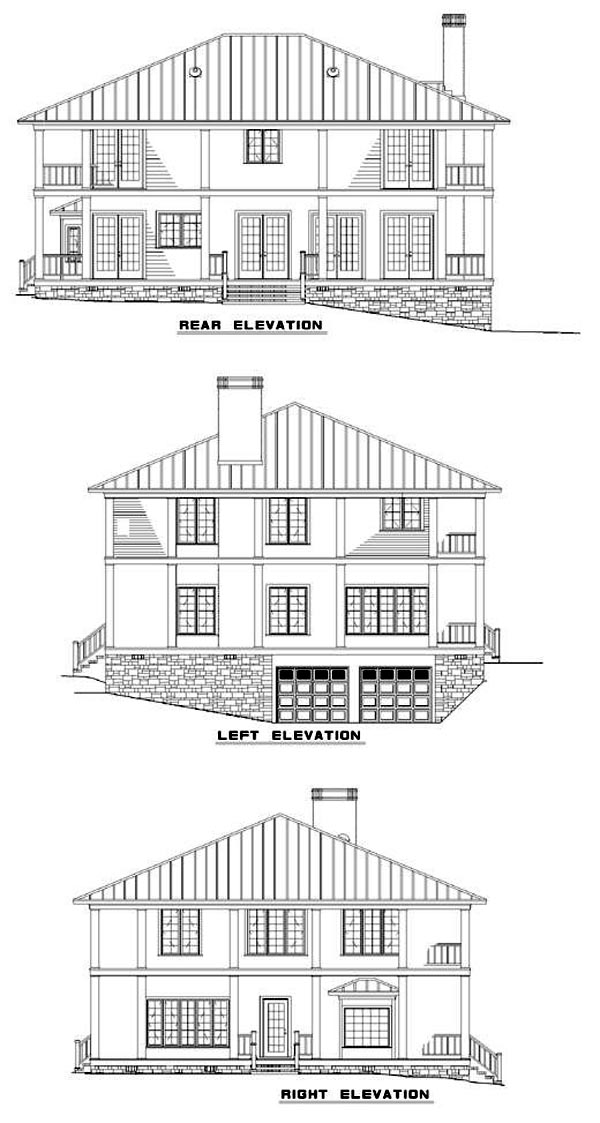 Colonial Southern House Plan 62012 Rear Elevation