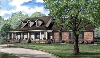 Country Ranch Southern Traditional House Plan 62013 Elevation