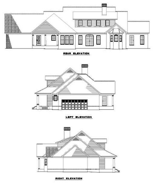 Country Ranch Southern Traditional House Plan 62013 Rear Elevation