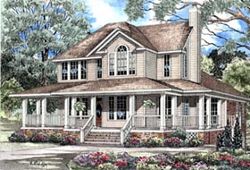 Country Farmhouse Southern House Plan 62015 Elevation