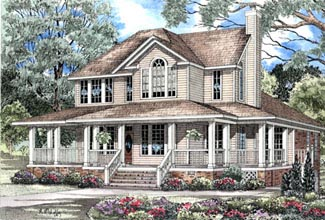 Country, Farmhouse, Southern House Plan 62015 with 3 Beds, 4 Baths, 3 Car Garage Elevation
