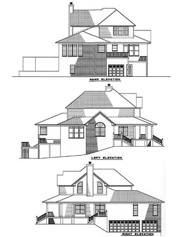 Country, Farmhouse, Southern House Plan 62015 with 3 Beds, 4 Baths, 3 Car Garage Rear Elevation