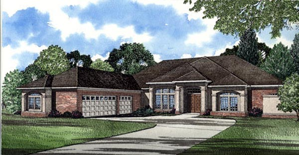 Colonial, One-Story House Plan 62017 with 3 Beds, 3 Baths, 3 Car Garage Elevation