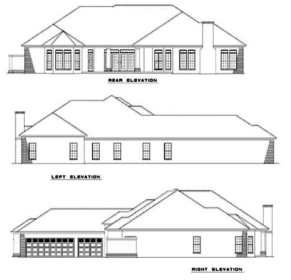 Colonial, One-Story House Plan 62017 with 3 Beds, 3 Baths, 3 Car Garage Rear Elevation