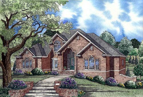 European House Plan 62019 with 3 Beds, 5 Baths, 2 Car Garage Elevation