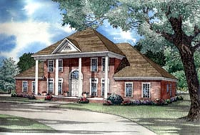 Colonial Plantation Southern House Plan 62020 Elevation