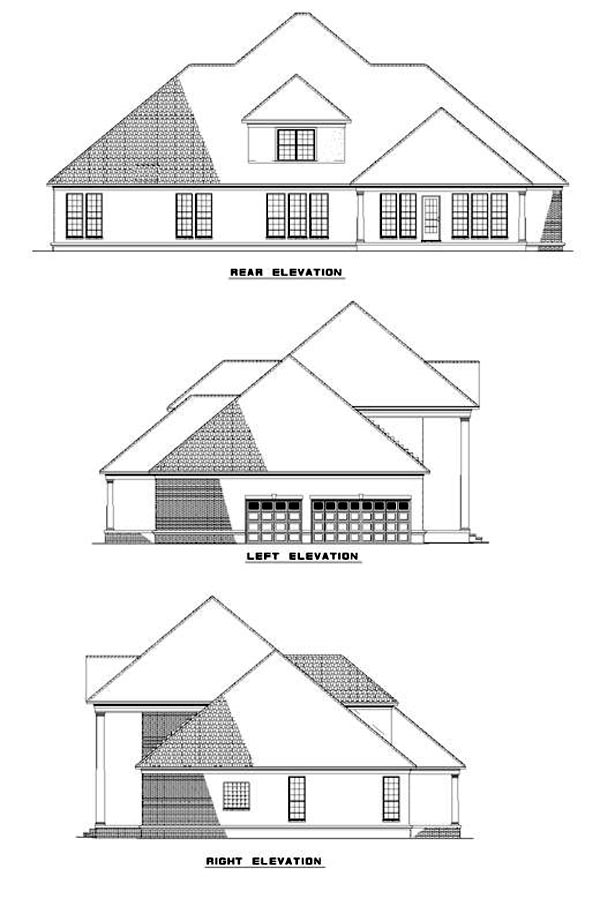 Colonial Plantation Southern House Plan 62020 Rear Elevation