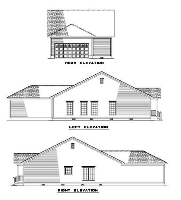 Bungalow Colonial Country Ranch Southern House Plan 62021 Rear Elevation
