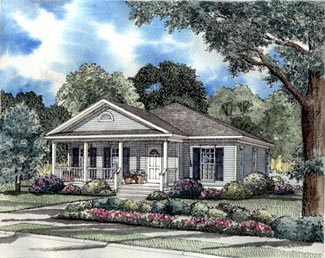 Colonial , Country , Southern , Elevation of Plan 62022