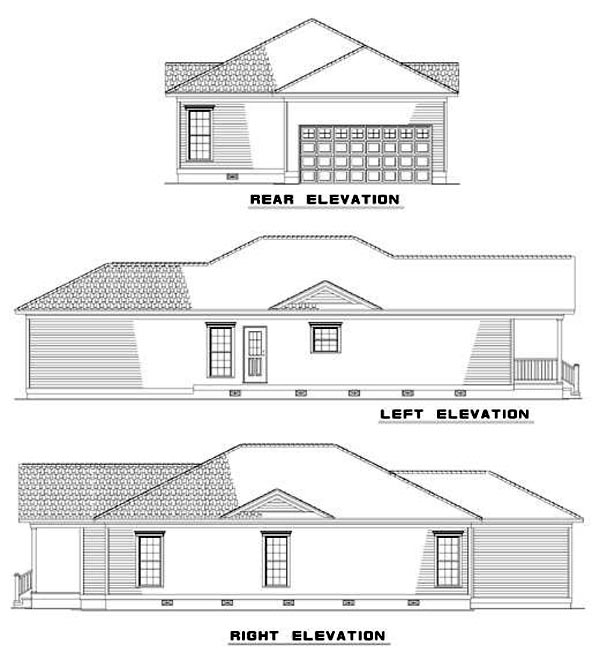 Colonial , Country , Southern , Rear Elevation of Plan 62022