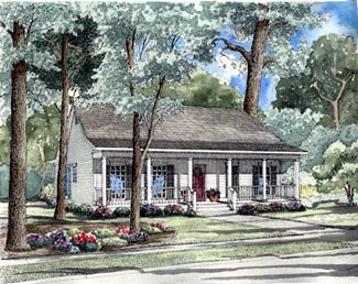 Country One-Story Ranch Southern Elevation of Plan 62023
