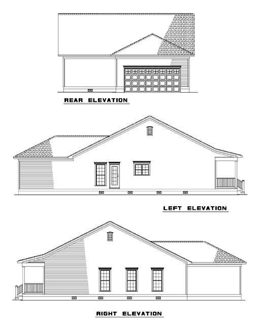 Country One-Story Ranch Southern Rear Elevation of Plan 62023