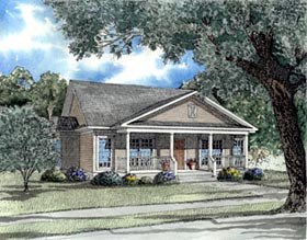 Colonial , Country , Southern House Plan 62024 with 3 Beds, 2 Baths, 2 Car Garage Elevation