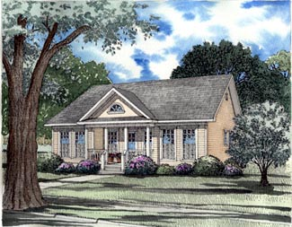 Country One-Story Ranch Southern Elevation of Plan 62025