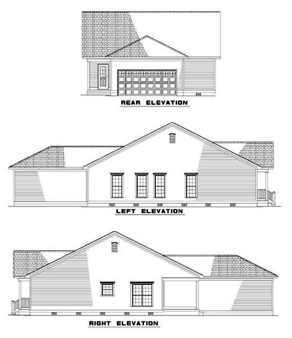 Country, One-Story, Ranch, Southern House Plan 62025 with 3 Beds, 2 Baths Rear Elevation