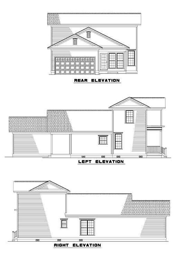 Colonial, Southern House Plan 62026 with 3 Beds, 2 Baths, 2 Car Garage Rear Elevation