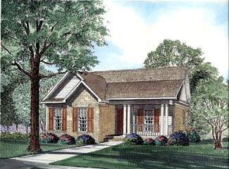 Colonial, Country, Narrow Lot, Southern House Plan 62027 with 3 Beds, 2 Baths Elevation