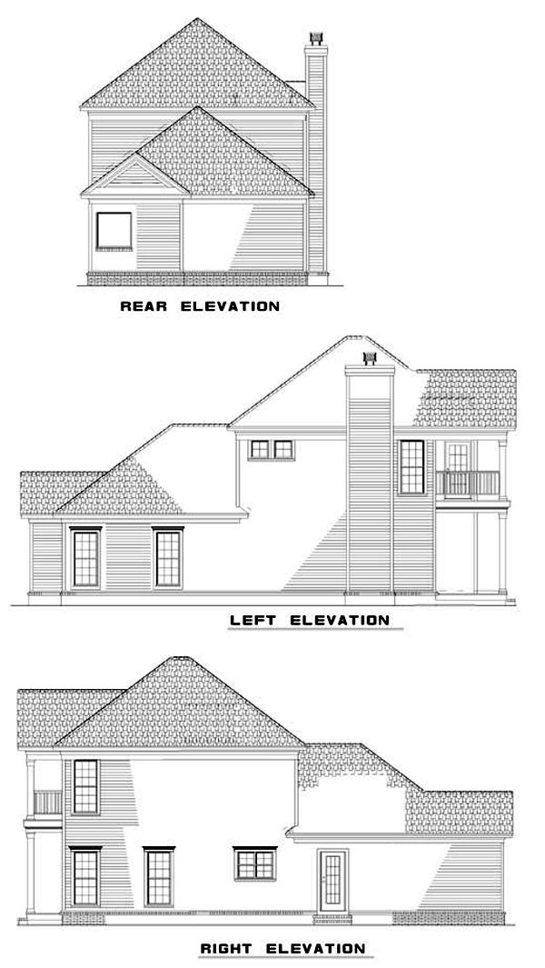Colonial Southern House Plan 62028 Rear Elevation
