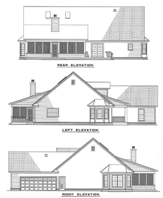 Cape Cod Country Traditional House Plan 62031 Rear Elevation