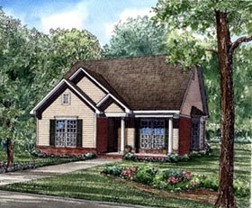Southern , Country , Bungalow House Plan 62033 with 3 Beds, 2 Baths, 1 Car Garage Elevation