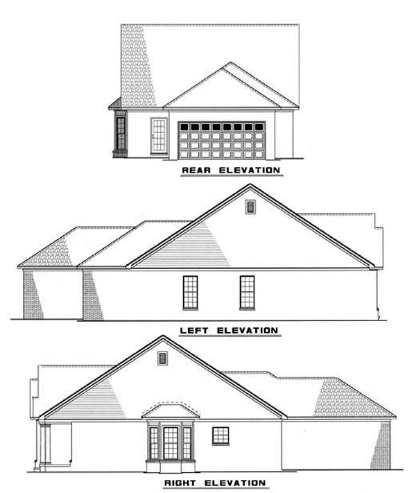 Bungalow Country Southern House Plan 62033 Rear Elevation