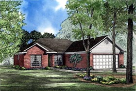 One-Story , Traditional House Plan 62034 with 3 Beds, 2 Baths, 2 Car Garage Elevation