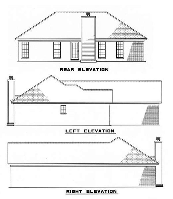 One-Story, Traditional House Plan 62034 with 3 Beds, 2 Baths, 2 Car Garage Rear Elevation