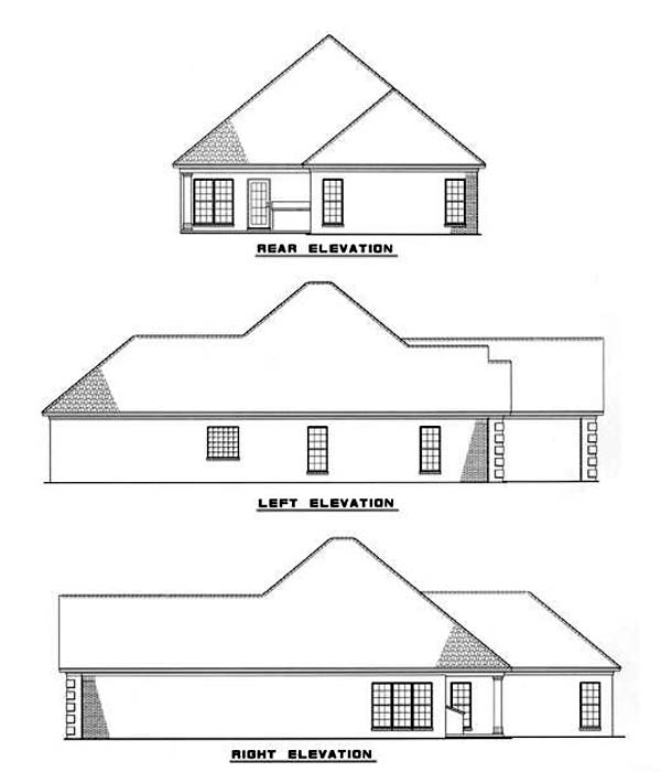 European House Plan 62035 Rear Elevation