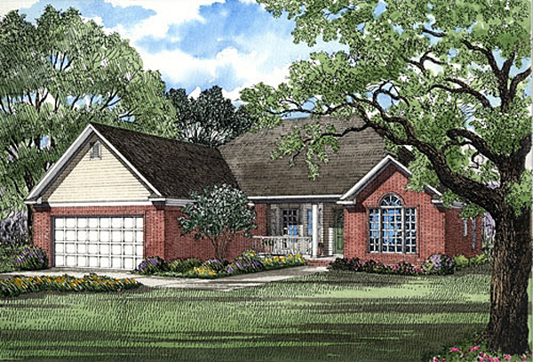 European, Traditional House Plan 62036 with 3 Beds, 2 Baths, 2 Car Garage Front Elevation