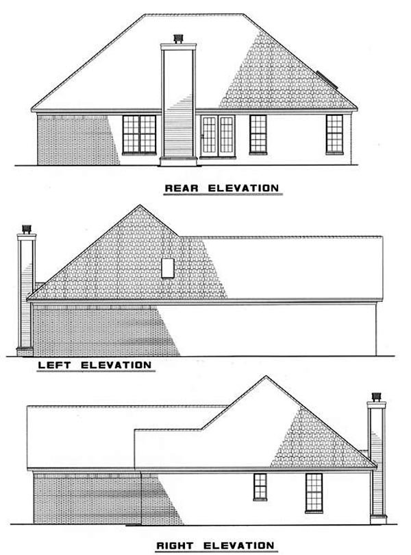 European, Traditional House Plan 62036 with 3 Beds, 2 Baths, 2 Car Garage Rear Elevation