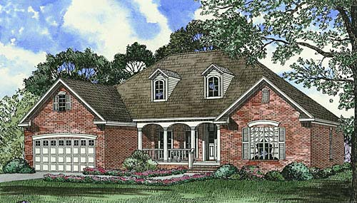 Traditional House Plan 62037 with 4 Beds, 2 Baths, 2 Car Garage Elevation