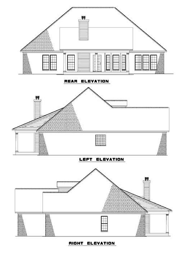 Traditional House Plan 62037 with 4 Beds, 2 Baths, 2 Car Garage Rear Elevation