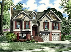 House Plan 62038 | Style House Plan with 1425 Sq Ft, 3 Bed, 3 Bath Elevation