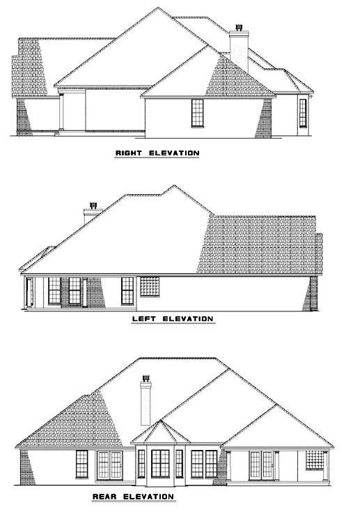 European House Plan 62042 Rear Elevation