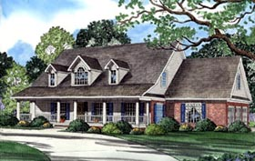 House Plan 62044 | Country Style Plan with 3179 Sq Ft, 4 Bedrooms, 4 Bathrooms, 3 Car Garage Elevation