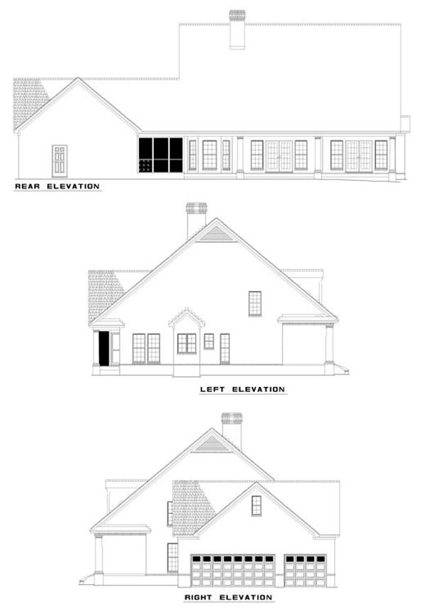 Cape Cod House Plan 62045 with 4 Beds, 4 Baths, 3 Car Garage Rear Elevation
