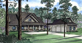 Country, Southern House Plan 62046 with 5 Beds, 4 Baths Elevation
