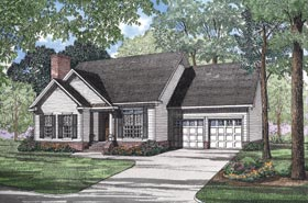 Traditional , Ranch House Plan 62049 with 3 Beds, 2 Baths, 2 Car Garage Elevation