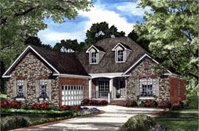 House Plan 62053 | European Style Plan with 1930 Sq Ft, 4 Bedrooms, 2 Bathrooms, 2 Car Garage Elevation
