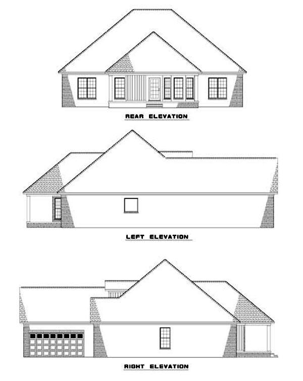 European House Plan 62053 Rear Elevation