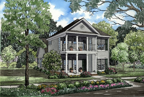 Colonial, Southern House Plan 62054 with 3 Beds, 3 Baths Elevation