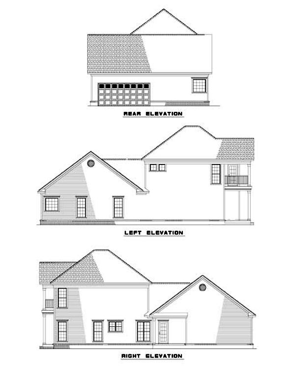 Colonial Southern House Plan 62054 Rear Elevation