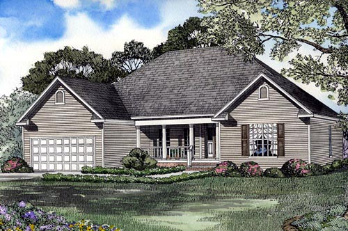 One-Story, Traditional House Plan 62055 with 4 Beds, 2 Baths, 2 Car Garage Elevation