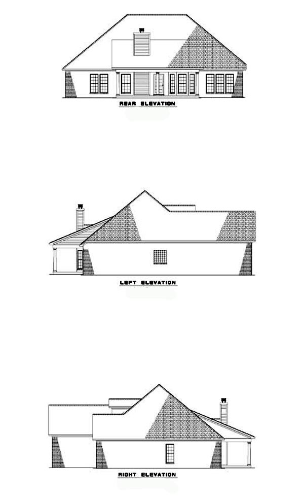 Traditional , Rear Elevation of Plan 62056