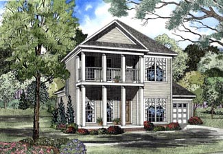 Colonial House Plan 62057 with 3 Beds, 3 Baths, 2 Car Garage Elevation