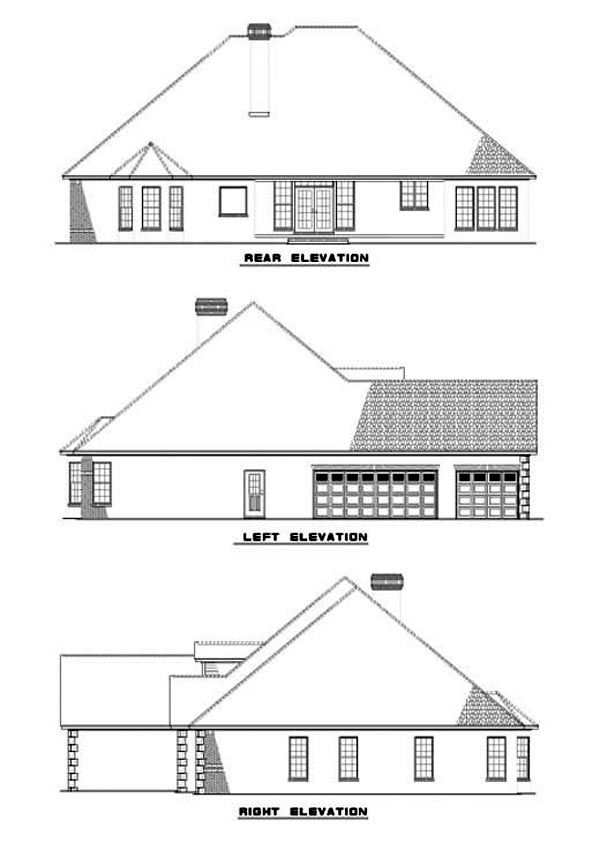 European Traditional House Plan 62061 Rear Elevation