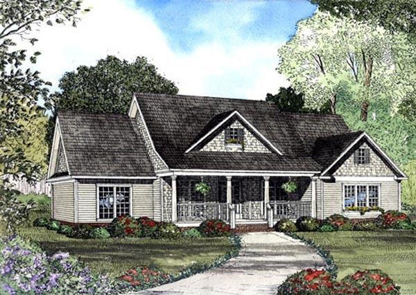 Country House Plan 62065 with 4 Beds , 4 Baths , 2 Car Garage Elevation